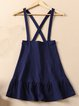 Blue Two Piece Embroidered Cotton-blend Overall Mini Dress