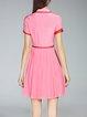 Red A-line Short Sleeve Shirt Collar Silk Midi Dress