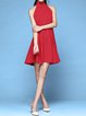 Red Folds Turtleneck Sleeveless Mini Dress