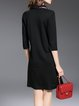 Black Plain H-line Simple 3/4 Sleeve Midi Dress with Scarf