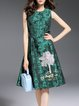 Green Jacquard Sleeveless Floral Crew Neck Midi Dress