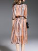 Orange Half Sleeve Stripes Silk Midi Dress