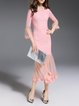Pink Paneled Flared Sleeve Elegant Mermaid  Midi Dress