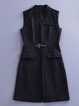 Black Stand Collar Sleeveless Plain Vests And Gilet