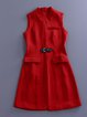 Red Sleeveless A-line Plain Pockets Vests And Gilet