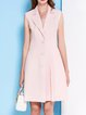 Pink Buttoned Lapel Sleeveless Plain Mini Dress