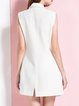 White Sleeveless Simple Lapel Plain Polyester Vests And Gilet