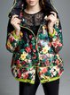 Black Long Sleeve Hoodie Printed Casual Down Coat