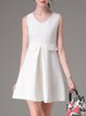 White A-line Sleeveless Folds Solid Mini Dress