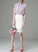 White H-line Woven Slit Simple Midi Skirt