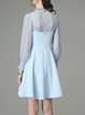 Light Blue Simple Two Piece Folds Chiffon Mini Dress