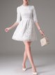 Girly Floral 3/4 Sleeve Crocheted Crew Neck Lace Mini Dress