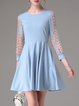 Blue Crew Neck Folds Simple Knitted Mini Dress