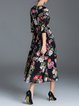 Black 3/4 Sleeve Floral-print Polyester Midi Dress