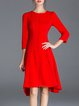 Red A-line Elegant Asymmetric Midi Dress