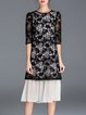 Black Crew Neck Half Sleeve H-line Floral Midi Dress