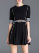 Black Half Sleeve Cotton-blend Crew Neck Mini Dress with Belt