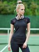 Black Breathable Stretchy Polyester T-shirt Top (Sportswear for Fitness)