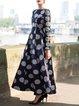 Dark Blue Polka Dots Long Sleeve Maxi Dress