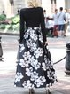Black Crew Neck Floral Long Sleeve Maxi Dress