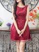 Wine Red Polka Dots A-line Elegant Mini Dress