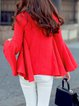 Red Flared Sleeve A-line V Neck Sweater
