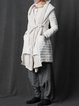 Plain Long Sleeve Statement Hoodie Pockets Down Coat with Belt