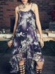 Blue Floral High Low Spaghetti Boho Midi Dress