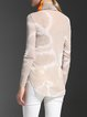 Apricot Embroidered Turtleneck Simple Long Sleeved Top