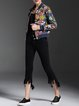 Multicolor Long Sleeve Cotton Stand Collar Bomber Jacket