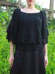 Black Pleasted Bateau/boat Neck Chiffon Frill Sleeve Blouse