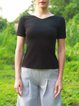 Black Paneled Reversible Short Sleeved Top