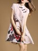 Pink Silk-blend Vintage Floral A-line Mini Dress