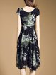 Black Floral-print Vintage Polyester Swing Midi Dress