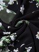 Black Floral-print Vintage Polyester Swing Midi Dress