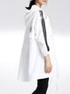 White Hoodie 3/4 Sleeve Pockets Plain Coat