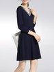 Navy Blue Plain V Neck A-line 3/4 Sleeve Mini Dress
