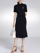 Navy Blue Knitted Two Piece Short Sleeve Midi Dress with Brooch