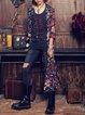 Multicolor Vintage Floral Print Slit Blazer