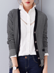 Black Stripes Simple Pockets Buttoned Cardigan