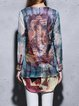 Blue Silk-blend Long Sleeve Abstract H-line Tunic
