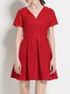 Red Pierced Short Sleeve A-line Lace Mini Dress