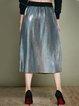 Silver Pleated A-line Simple Plain Midi Skirt