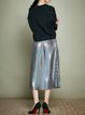 Silver Pleated A-line Simple Plain Midi Skirt