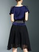 Navy Blue A-line Polyester Casual Ruffled Mini Dress