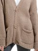 Khaki Buttoned V Neck Long Sleeve Wool Blend Sweater