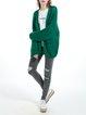 Green Plain V Neck Long Sleeve Wool Blend Cardigan