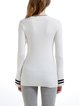 White Simple Wool Blend Knitted Sweater