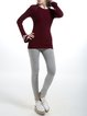 Wine Red Plain Simple Wool Blend Sweater