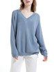 Blue Plain V Neck Raglan Sleeve Sweater